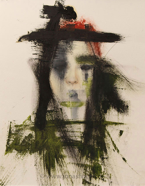 Frau im Walde / 56x42 cm / oil on watercolor paper / 2014